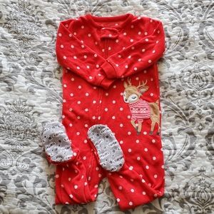 Carter's Christmas Fleece Zippered Pajama 18 M